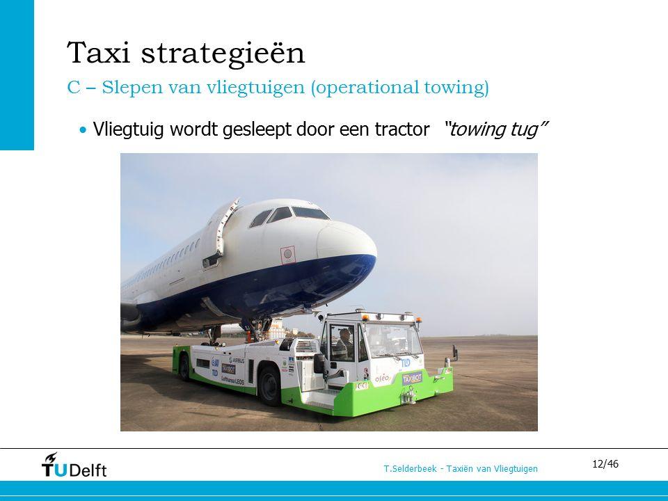"""12/46 T.Selderbeek - Taxiën van Vliegtuigen Vliegtuig wordt gesleept door een tractor """"towing tug"""" Taxi strategieën C – Slepen van vliegtuigen (operat"""