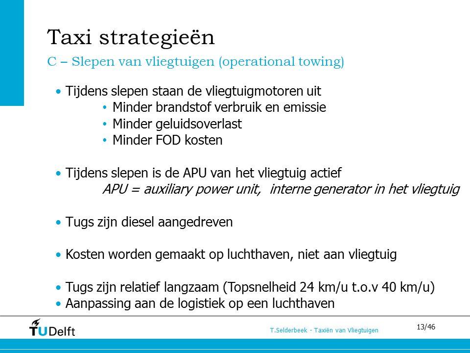 13/46 T.Selderbeek - Taxiën van Vliegtuigen Tijdens slepen staan de vliegtuigmotoren uit Minder brandstof verbruik en emissie Minder geluidsoverlast M