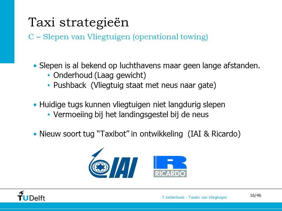 16/46 T.Selderbeek - Taxiën van Vliegtuigen Slepen is al bekend op luchthavens maar geen lange afstanden. Onderhoud (Laag gewicht) Pushback (Vliegtuig