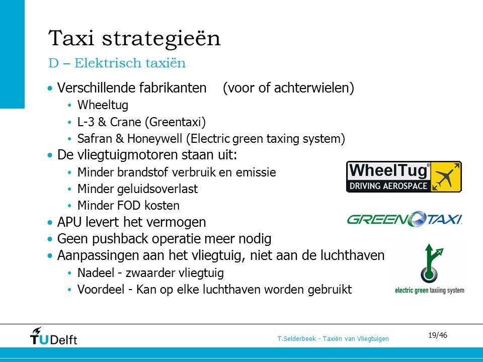 19/46 T.Selderbeek - Taxiën van Vliegtuigen Taxi strategieën Verschillende fabrikanten (voor of achterwielen) Wheeltug L-3 & Crane (Greentaxi) Safran