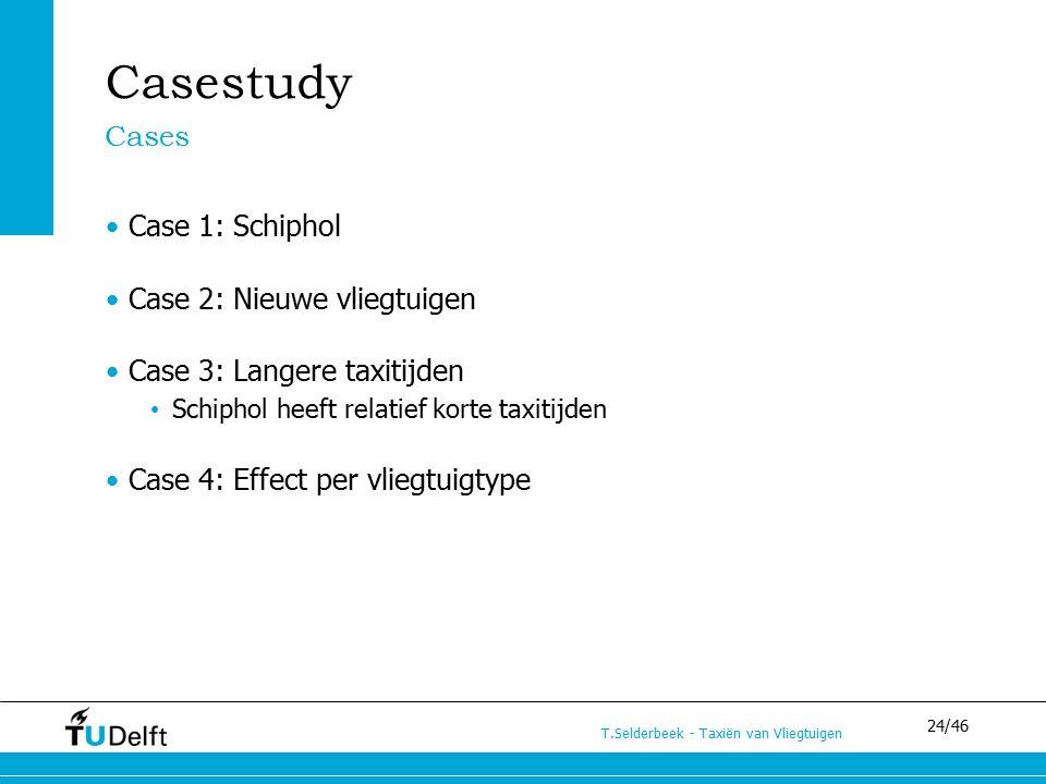 24/46 T.Selderbeek - Taxiën van Vliegtuigen Casestudy Case 1: Schiphol Case 2: Nieuwe vliegtuigen Case 3: Langere taxitijden Schiphol heeft relatief korte taxitijden Case 4: Effect per vliegtuigtype Cases
