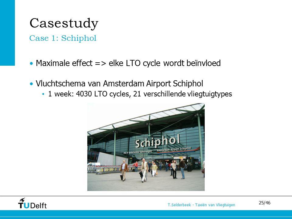 25/46 T.Selderbeek - Taxiën van Vliegtuigen Casestudy Maximale effect => elke LTO cycle wordt beïnvloed Vluchtschema van Amsterdam Airport Schiphol 1 week: 4030 LTO cycles, 21 verschillende vliegtuigtypes Case 1: Schiphol