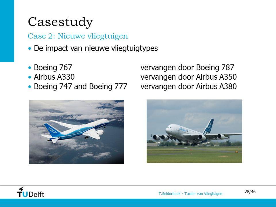 28/46 T.Selderbeek - Taxiën van Vliegtuigen Casestudy Case 2: Nieuwe vliegtuigen De impact van nieuwe vliegtuigtypes Boeing 767 vervangen door Boeing 787 Airbus A330 vervangen door Airbus A350 Boeing 747 and Boeing 777 vervangen door Airbus A380