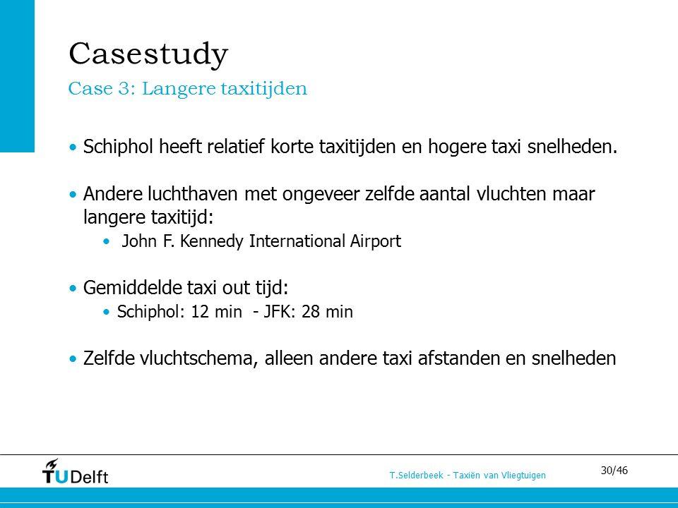30/46 T.Selderbeek - Taxiën van Vliegtuigen Schiphol heeft relatief korte taxitijden en hogere taxi snelheden. Andere luchthaven met ongeveer zelfde a