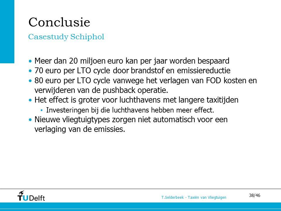 38/46 T.Selderbeek - Taxiën van Vliegtuigen Conclusie Casestudy Schiphol Meer dan 20 miljoen euro kan per jaar worden bespaard 70 euro per LTO cycle door brandstof en emissiereductie 80 euro per LTO cycle vanwege het verlagen van FOD kosten en verwijderen van de pushback operatie.