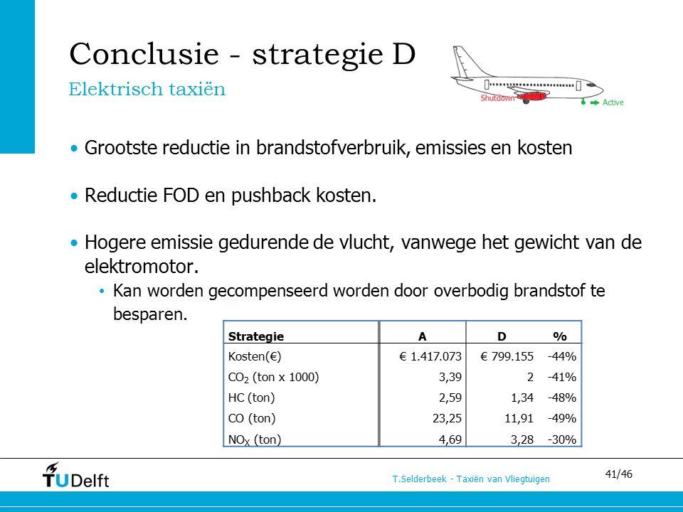 41/46 T.Selderbeek - Taxiën van Vliegtuigen Conclusie - strategie D Grootste reductie in brandstofverbruik, emissies en kosten Reductie FOD en pushback kosten.