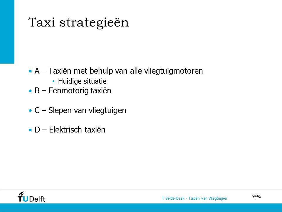 9/46 T.Selderbeek - Taxiën van Vliegtuigen Taxi strategieën A – Taxiën met behulp van alle vliegtuigmotoren Huidige situatie B – Eenmotorig taxiën C – Slepen van vliegtuigen D – Elektrisch taxiën