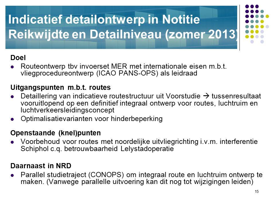 15 Indicatief detailontwerp in Notitie Reikwijdte en Detailniveau (zomer 2013) Doel Routeontwerp tbv invoerset MER met internationale eisen m.b.t. vli