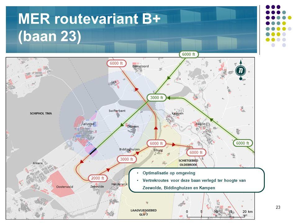 23 MER routevariant B+ (baan 23) Optimalisatie op omgeving Vertrekroutes voor deze baan verlegd ter hoogte van Zeewolde, Biddinghuizen en Kampen 6000