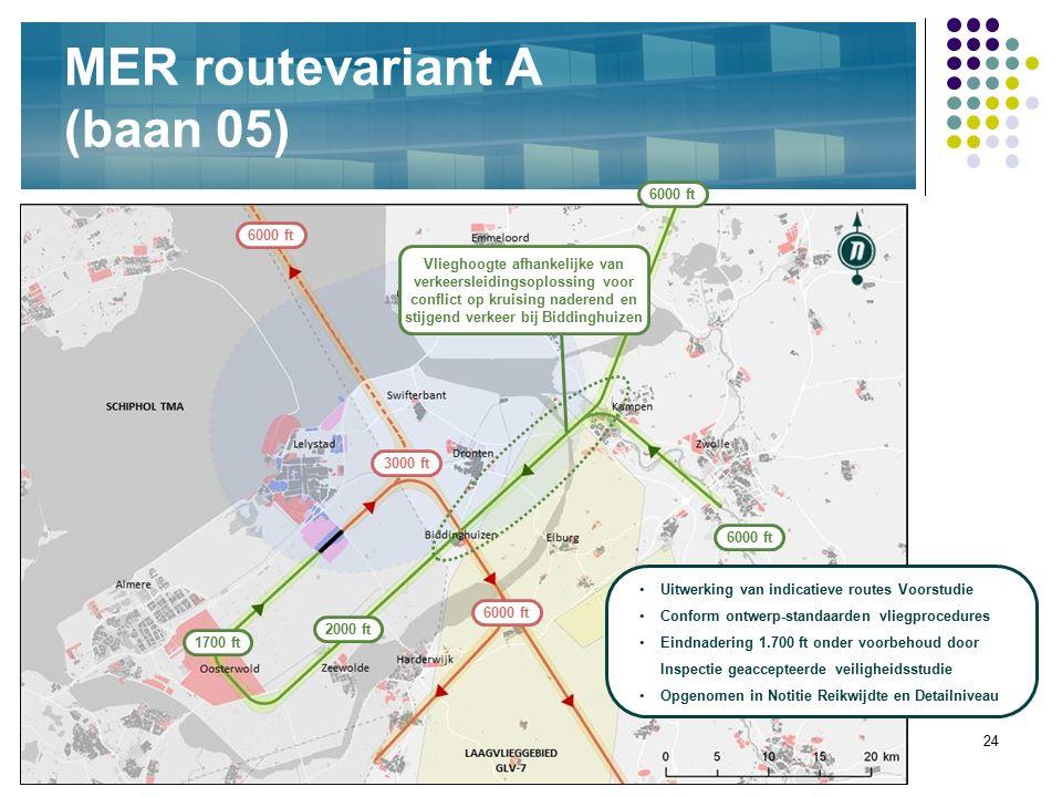 24 MER routevariant A (baan 05) 2000 ft 1700 ft Vlieghoogte afhankelijke van verkeersleidingsoplossing voor conflict op kruising naderend en stijgend