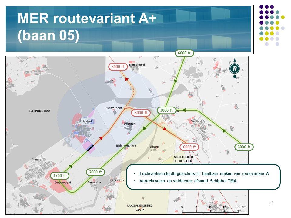 25 MER routevariant A+ (baan 05) 6000 ft 3000 ft 6000 ft Luchtverkeersleidingstechnisch haalbaar maken van routevariant A Vertrekroutes op voldoende a