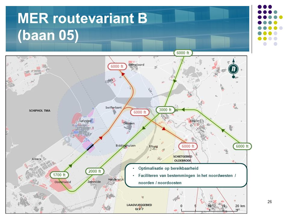 26 MER routevariant B (baan 05) Optimalisatie op bereikbaarheid Faciliteren van bestemmingen in het noordwesten / noorden / noordoosten 6000 ft 3000 f