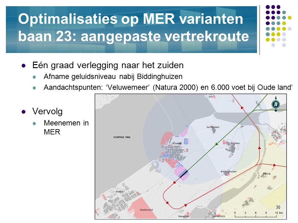 30 Optimalisaties op MER varianten baan 23: aangepaste vertrekroute Eén graad verlegging naar het zuiden Afname geluidsniveau nabij Biddinghuizen Aand
