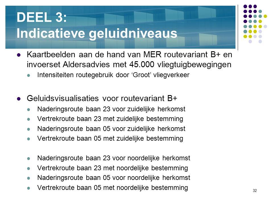 32 DEEL 3: Indicatieve geluidniveaus Kaartbeelden aan de hand van MER routevariant B+ en invoerset Aldersadvies met 45.000 vliegtuigbewegingen Intensi