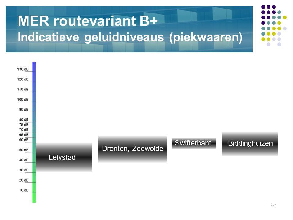 35 MER routevariant B+ Indicatieve geluidniveaus (piekwaaren) Biddinghuizen Swifterbant Lelystad Dronten, Zeewolde