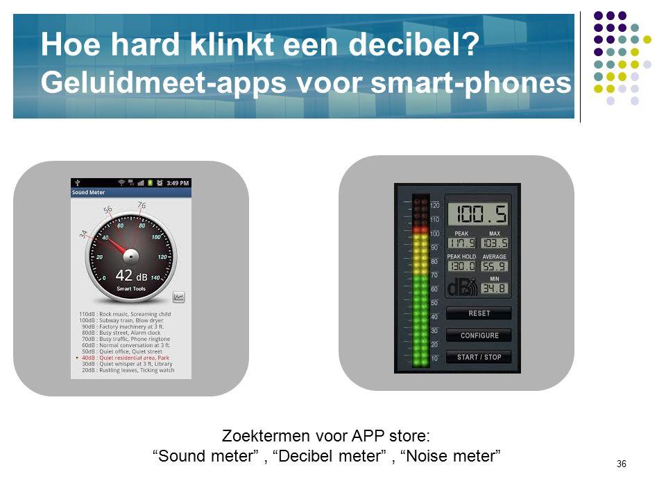 """36 Hoe hard klinkt een decibel? Geluidmeet-apps voor smart-phones Zoektermen voor APP store: """"Sound meter"""", """"Decibel meter"""", """"Noise meter"""""""