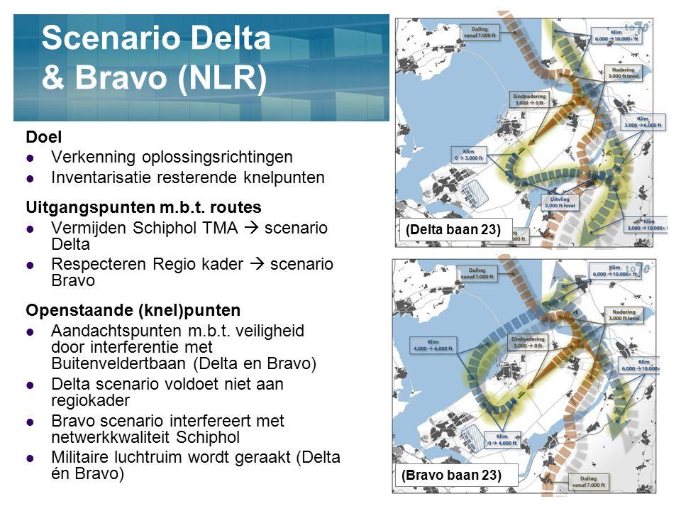 4 Scenario Delta & Bravo (NLR) Doel Verkenning oplossingsrichtingen Inventarisatie resterende knelpunten Uitgangspunten m.b.t. routes Vermijden Schiph