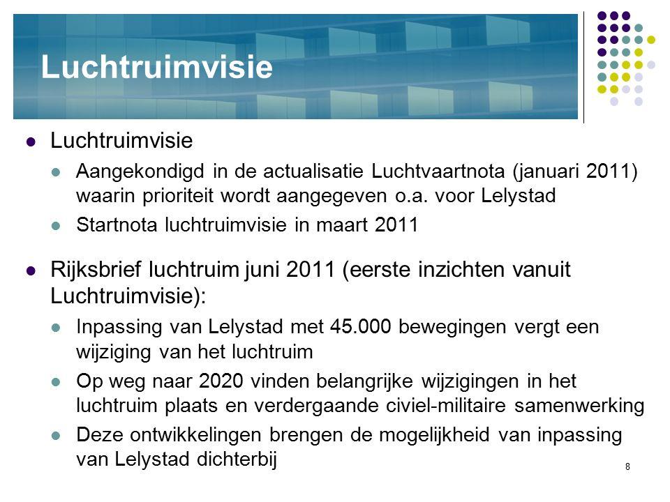 8 Luchtruimvisie Aangekondigd in de actualisatie Luchtvaartnota (januari 2011) waarin prioriteit wordt aangegeven o.a. voor Lelystad Startnota luchtru
