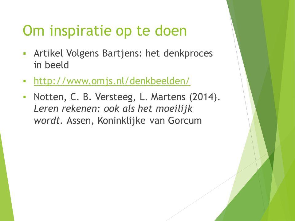 Om inspiratie op te doen  Artikel Volgens Bartjens: het denkproces in beeld  http://www.omjs.nl/denkbeelden/ http://www.omjs.nl/denkbeelden/  Notten, C.