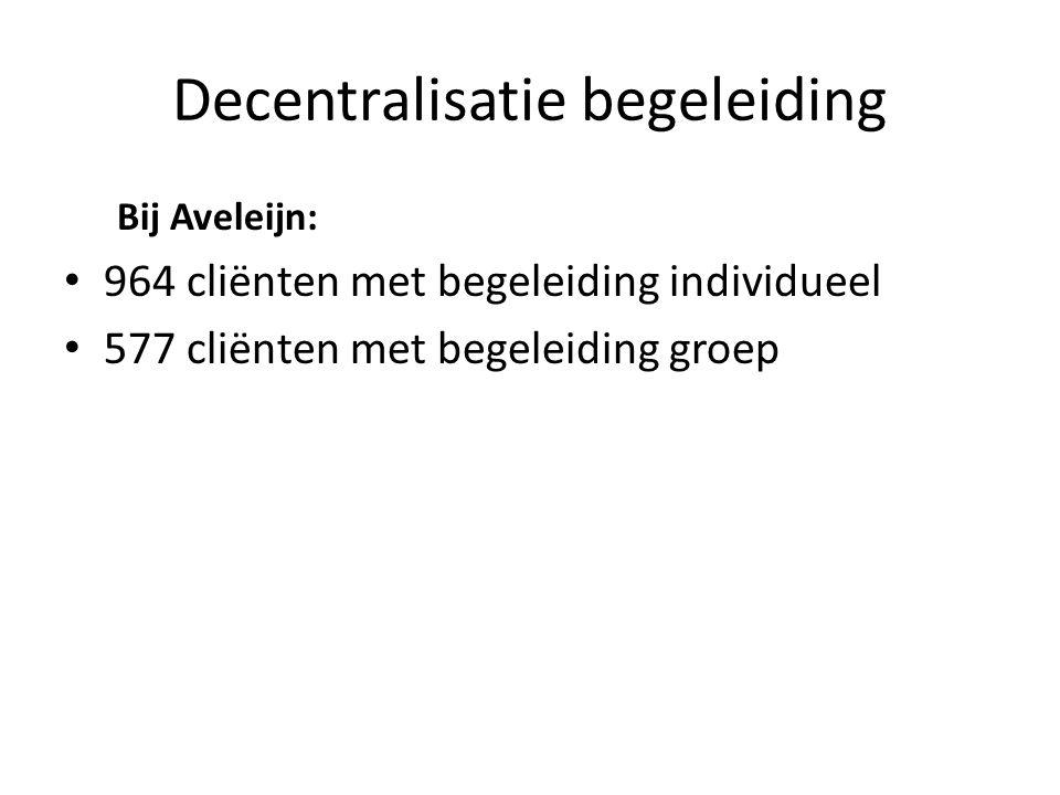 Decentralisatie begeleiding Bij Aveleijn: 964 cliënten met begeleiding individueel 577 cliënten met begeleiding groep