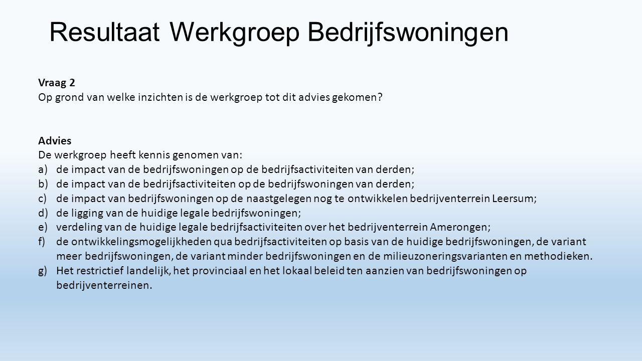 Resultaat Werkgroep Bedrijfswoningen Vraag 2 Op grond van welke inzichten is de werkgroep tot dit advies gekomen.
