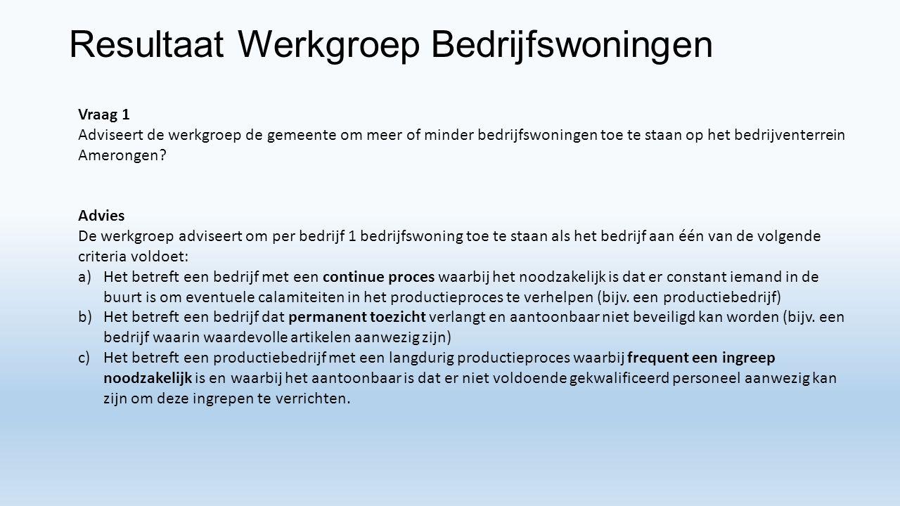 Resultaat Werkgroep Bedrijfswoningen Vraag 1 Adviseert de werkgroep de gemeente om meer of minder bedrijfswoningen toe te staan op het bedrijventerrein Amerongen.