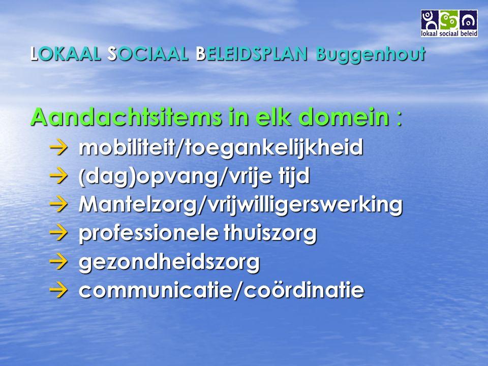 LOKAAL SOCIAAL BELEIDSPLAN Buggenhout Aandachtsitems in elk domein :  mobiliteit/toegankelijkheid  ( dag)opvang/vrije tijd  Mantelzorg/vrijwilligerswerking  professionele thuiszorg  gezondheidszorg  communicatie/coördinatie