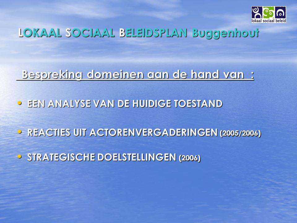 LOKAAL SOCIAAL BELEIDSPLAN Buggenhout Bespreking domeinen aan de hand van : Bespreking domeinen aan de hand van : EEN ANALYSE VAN DE HUIDIGE TOESTAND EEN ANALYSE VAN DE HUIDIGE TOESTAND REACTIES UIT ACTORENVERGADERINGEN (2005/2006) REACTIES UIT ACTORENVERGADERINGEN (2005/2006) STRATEGISCHE DOELSTELLINGEN (2006) STRATEGISCHE DOELSTELLINGEN (2006)
