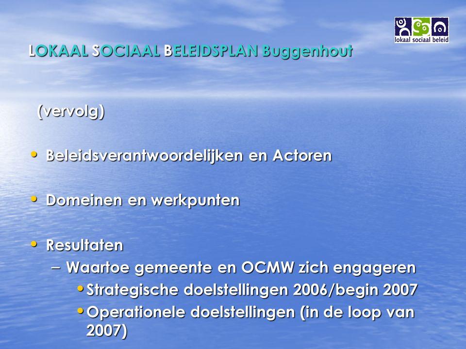 LOKAAL SOCIAAL BELEIDSPLAN Buggenhout (vervolg) (vervolg) Beleidsverantwoordelijken en Actoren Beleidsverantwoordelijken en Actoren Domeinen en werkpunten Domeinen en werkpunten Resultaten Resultaten – Waartoe gemeente en OCMW zich engageren Strategische doelstellingen 2006/begin 2007 Strategische doelstellingen 2006/begin 2007 Operationele doelstellingen (in de loop van 2007) Operationele doelstellingen (in de loop van 2007)