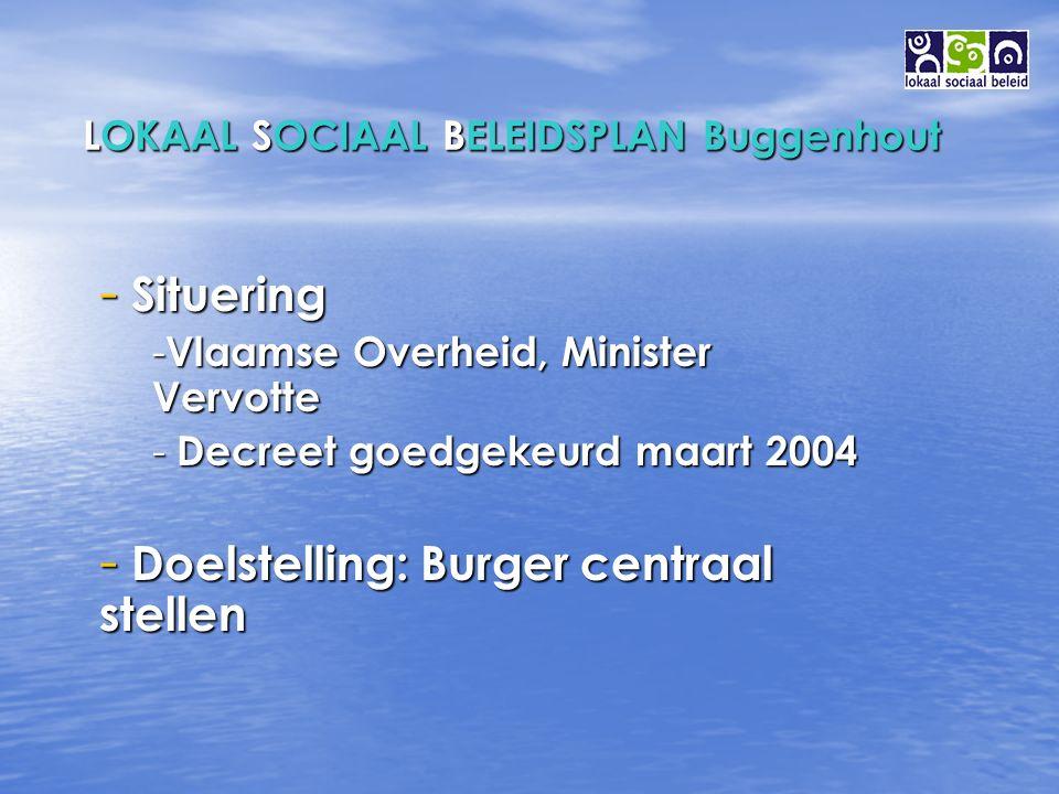 LOKAAL SOCIAAL BELEIDSPLAN Buggenhout ALGEMEEN: Elke Buggenhoutenaar de kans geven om een menswaardig leven te leiden ( artikel 1 OCMW – wet ).