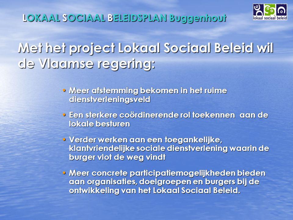 LOKAAL SOCIAAL BELEIDSPLAN Buggenhout 4 pijlers Samenwerking Samenwerking Planning Planning Participatie Participatie Sociaal Huis Sociaal Huis