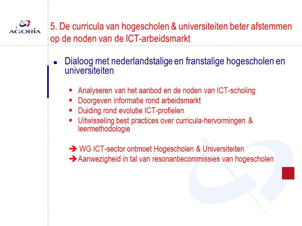 5. De curricula van hogescholen & universiteiten beter afstemmen op de noden van de ICT-arbeidsmarkt n Dialoog met nederlandstalige en franstalige hog