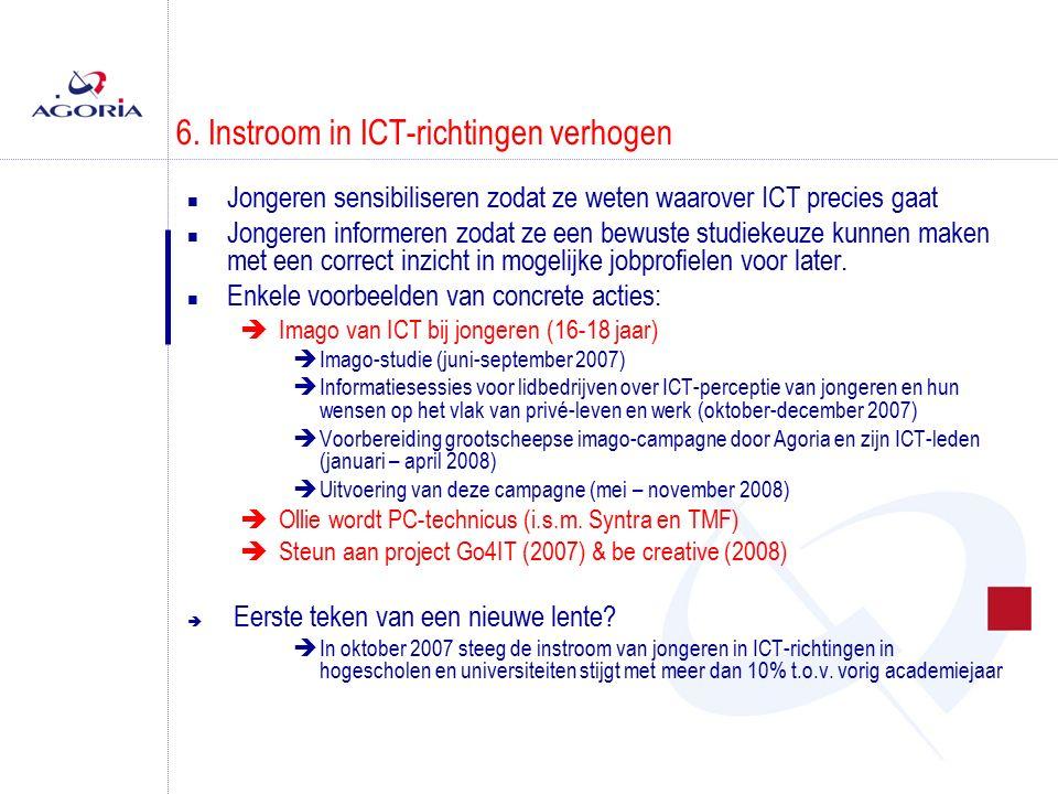 6. Instroom in ICT-richtingen verhogen n Jongeren sensibiliseren zodat ze weten waarover ICT precies gaat n Jongeren informeren zodat ze een bewuste s