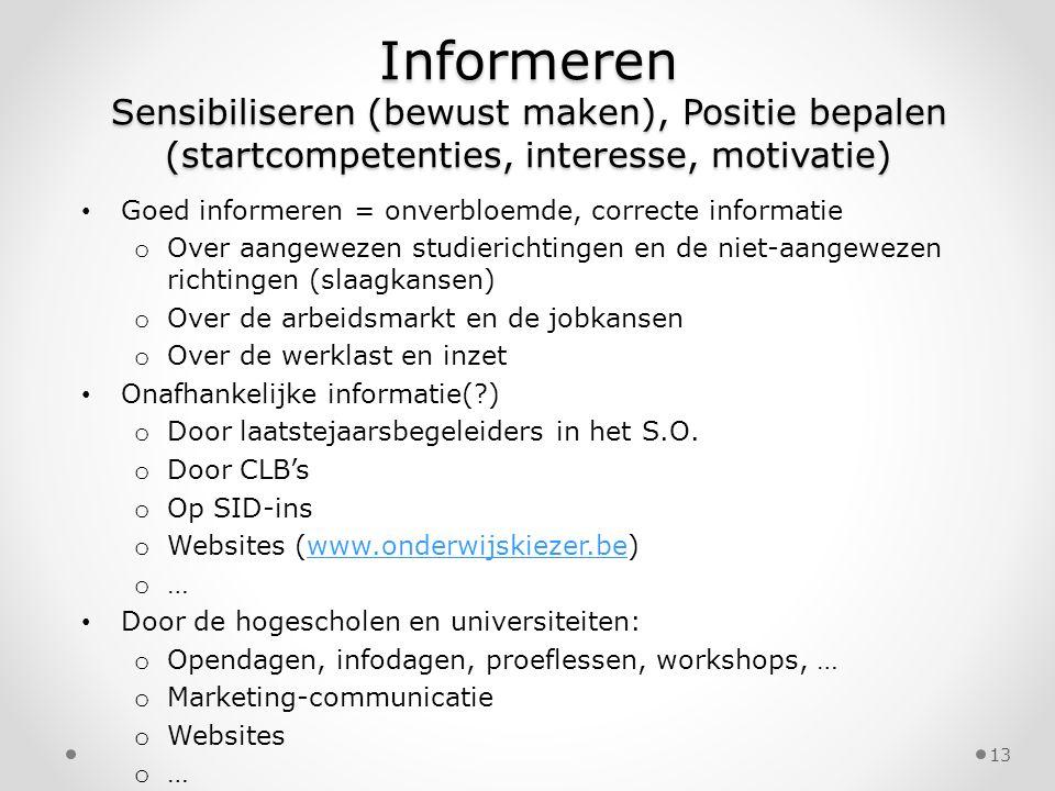 Informeren Sensibiliseren (bewust maken), Positie bepalen (startcompetenties, interesse, motivatie) Goed informeren = onverbloemde, correcte informati