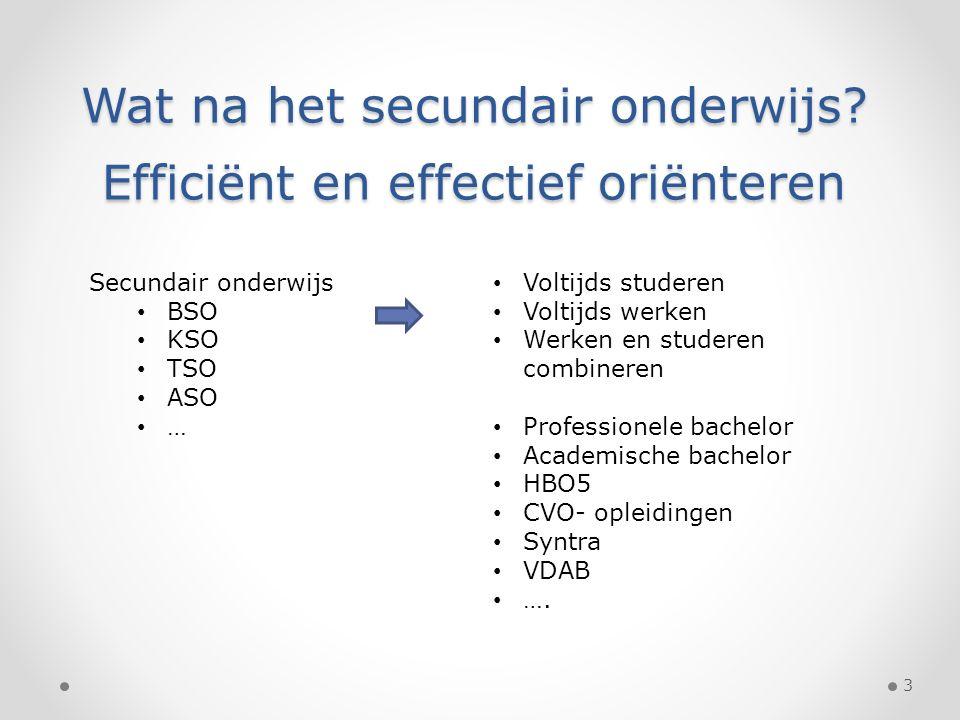 Wat na het secundair onderwijs? Efficiënt en effectief oriënteren Secundair onderwijs BSO KSO TSO ASO … Voltijds studeren Voltijds werken Werken en st