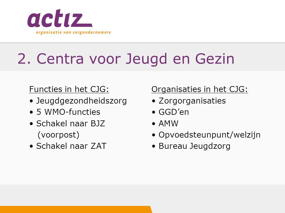 2. Centra voor Jeugd en Gezin Functies in het CJG: Jeugdgezondheidszorg 5 WMO-functies Schakel naar BJZ (voorpost) Schakel naar ZAT Organisaties in he