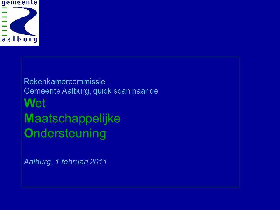 Hoofdpunten presentatie WMO quick scanonderzoek 1.Aanleiding en vraagstelling onderzoek; 2.Globale introductie Wmo; 3.Aalburg; de stand van zaken bij de Wno; a.Wmo kaders en beleid; b.9 prestatievelden uit de Wmo en Aalburg; c.Wmo in de programmabegroting 2011; d.Wmo in cijfers; kwalitatief en kwantitatief; 4.Aalburg Wmo getoetst aan landelijke cijfers (SCP); 5.Conclusies en aanbevelingen; 6.Vragen en wensen voor vervolg?