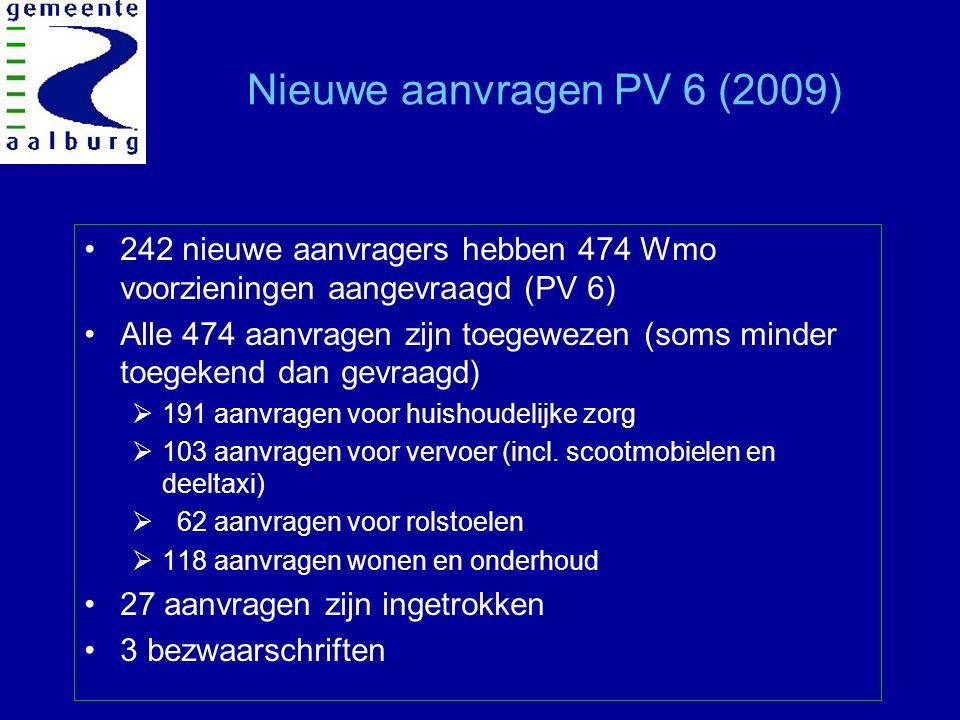 Nieuwe aanvragen PV 6 (2009) 242 nieuwe aanvragers hebben 474 Wmo voorzieningen aangevraagd (PV 6) Alle 474 aanvragen zijn toegewezen (soms minder toegekend dan gevraagd)  191 aanvragen voor huishoudelijke zorg  103 aanvragen voor vervoer (incl.