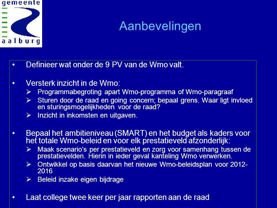 Aanbevelingen Definieer wat onder de 9 PV van de Wmo valt.