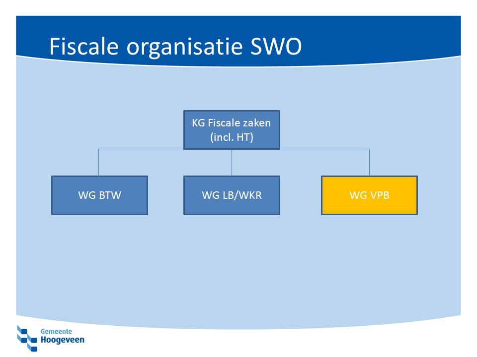 Fiscale organisatie SWO KG Fiscale zaken (incl. HT) WG BTWWG LB/WKRWG VPB
