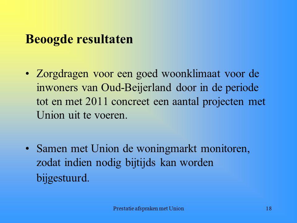 Prestatie afspraken met Union18 Beoogde resultaten Zorgdragen voor een goed woonklimaat voor de inwoners van Oud-Beijerland door in de periode tot en met 2011 concreet een aantal projecten met Union uit te voeren.