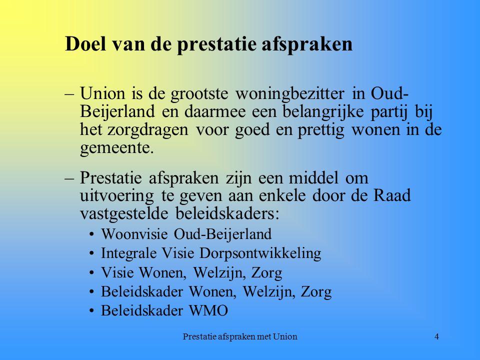 Prestatie afspraken met Union4 Doel van de prestatie afspraken –Union is de grootste woningbezitter in Oud- Beijerland en daarmee een belangrijke partij bij het zorgdragen voor goed en prettig wonen in de gemeente.