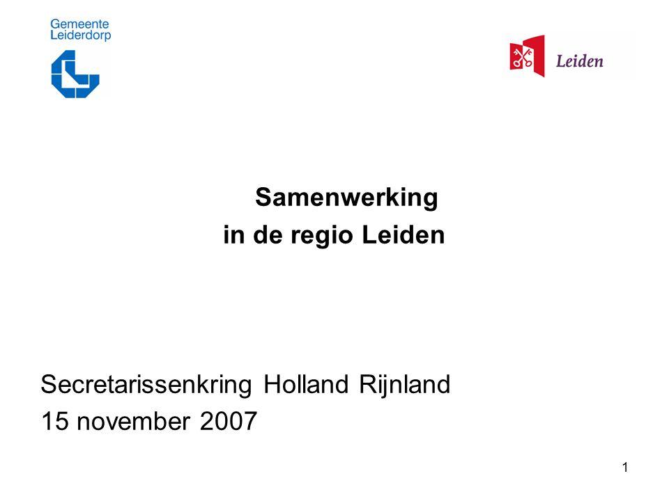 1 Samenwerking in de regio Leiden Secretarissenkring Holland Rijnland 15 november 2007