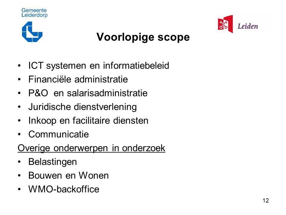 12 Voorlopige scope ICT systemen en informatiebeleid Financiële administratie P&O en salarisadministratie Juridische dienstverlening Inkoop en facilit