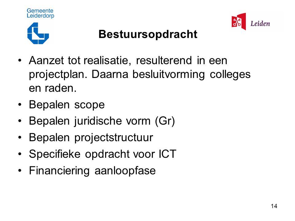 14 Bestuursopdracht Aanzet tot realisatie, resulterend in een projectplan.