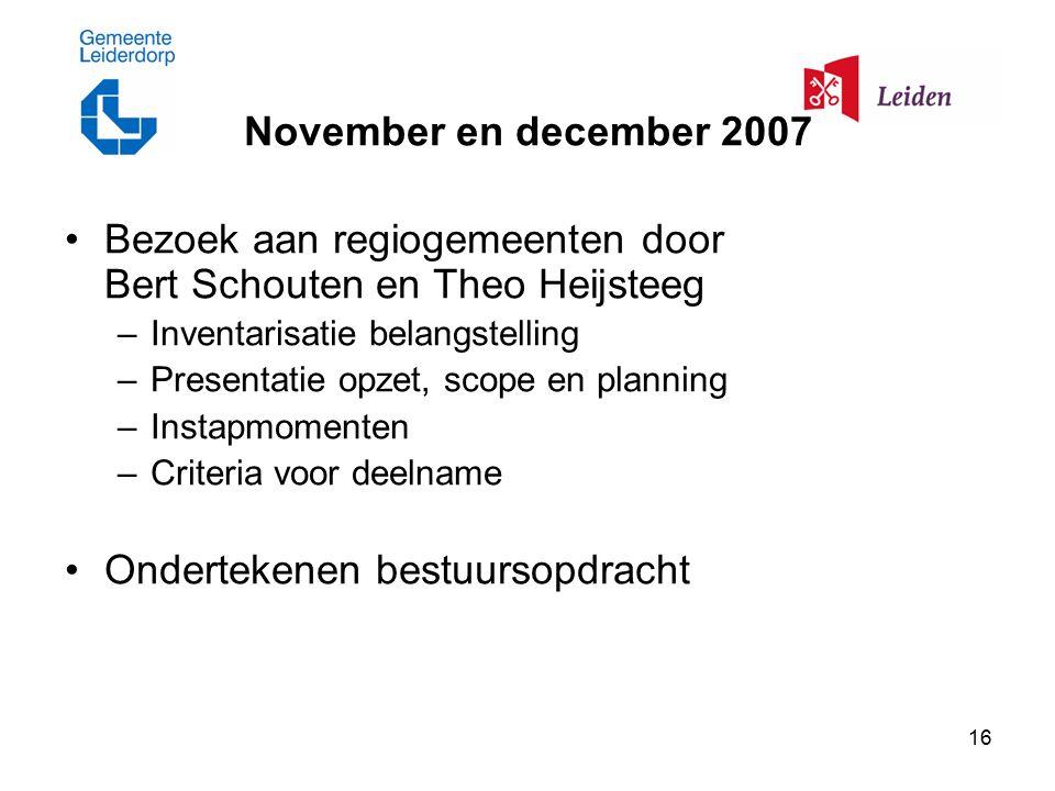 16 November en december 2007 Bezoek aan regiogemeenten door Bert Schouten en Theo Heijsteeg –Inventarisatie belangstelling –Presentatie opzet, scope en planning –Instapmomenten –Criteria voor deelname Ondertekenen bestuursopdracht