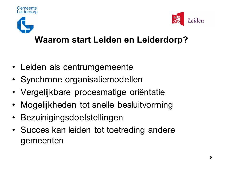 8 Waarom start Leiden en Leiderdorp? Leiden als centrumgemeente Synchrone organisatiemodellen Vergelijkbare procesmatige oriëntatie Mogelijkheden tot