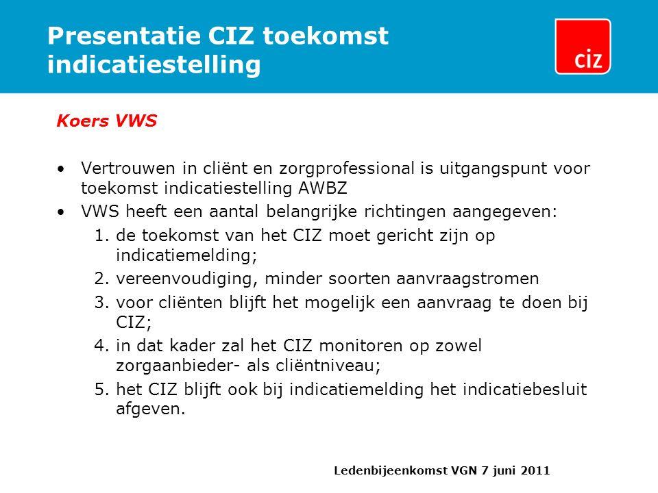 Presentatie CIZ toekomst indicatiestelling Koers VWS Vertrouwen in cliënt en zorgprofessional is uitgangspunt voor toekomst indicatiestelling AWBZ VWS heeft een aantal belangrijke richtingen aangegeven: 1.de toekomst van het CIZ moet gericht zijn op indicatiemelding; 2.vereenvoudiging, minder soorten aanvraagstromen 3.voor cliënten blijft het mogelijk een aanvraag te doen bij CIZ; 4.in dat kader zal het CIZ monitoren op zowel zorgaanbieder- als cliëntniveau; 5.het CIZ blijft ook bij indicatiemelding het indicatiebesluit afgeven.