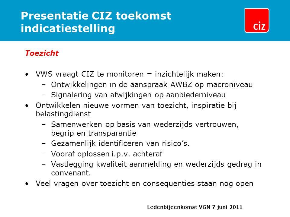 Presentatie CIZ toekomst indicatiestelling Toezicht VWS vraagt CIZ te monitoren = inzichtelijk maken: –Ontwikkelingen in de aanspraak AWBZ op macroniveau –Signalering van afwijkingen op aanbiederniveau Ontwikkelen nieuwe vormen van toezicht, inspiratie bij belastingdienst –Samenwerken op basis van wederzijds vertrouwen, begrip en transparantie –Gezamenlijk identificeren van risico's.