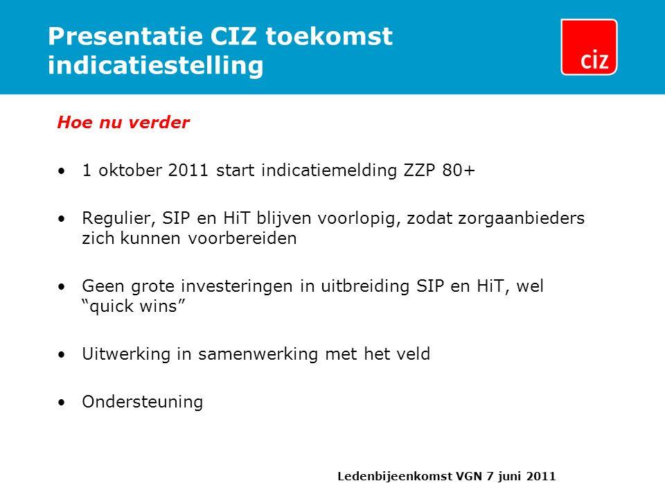 Presentatie CIZ toekomst indicatiestelling Hoe nu verder 1 oktober 2011 start indicatiemelding ZZP 80+ Regulier, SIP en HiT blijven voorlopig, zodat z